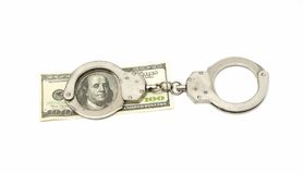 Handcuffs with dollar banknote. Handcuffs with 100 dollar banknote isolated on white Stock Images