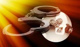 Handcuffs en diamanten die ondeugd in liefdesavonturen symboliseren Royalty-vrije Stock Afbeeldingen