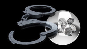 Handcuffs en diamanten die ondeugd in liefdesavonturen symboliseren Stock Afbeeldingen