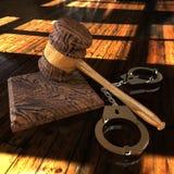 Handcuffs en hamer 3d illustratie Royalty-vrije Stock Foto's