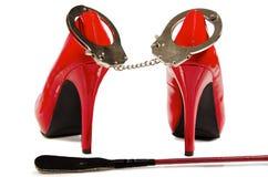 Handcuffs en hoge hielen Royalty-vrije Stock Afbeelding