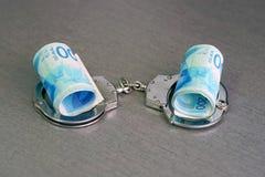 Handcuffs en verdraaid geld stock fotografie