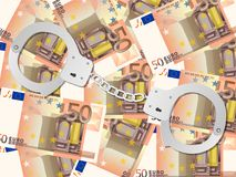 Handcuffs on fifty euro background. Handcuffs on fifty euros background Royalty Free Stock Images