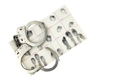Handcuffs and fingerprint ID for arrest isolated on white. Stock Photos