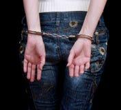 Handcuffs on hands Stock Photos