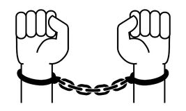Handcuffs on the hands of the criminal. A crime, corruption and arrest concept. Vector illustration Stock Photos