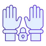 Handcuffs on hands flat icon. Arrest blue icons in trendy flat style. Criminal gradient style design, designed for web. And app. Eps 10 royalty free illustration