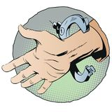 Handcuffs on hands. Stock illustration. Royalty Free Stock Photo