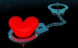 Handcuffs and heart symbol. Composition Royalty Free Stock Image