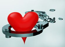 Handcuffs and heart symbol. Composition Stock Images