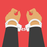 Handcuffs on his hands. Stock Photography