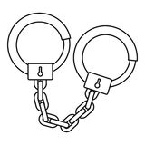 Handcuffs icon, outline style Stock Photo