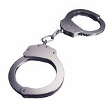 Handcuffs isolated on white background Stock Photo