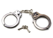 Handcuffs with keys Stock Photography