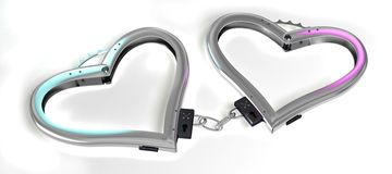 Handcuffs of love. 3d image of handcuffs. White background Stock Image