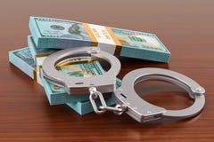 Handcuffs met dollarpakken op de houten lijst het 3d teruggeven Royalty-vrije Stock Afbeeldingen