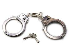 Handcuffs met sleutels Stock Fotografie