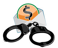 Handcuffs with money Stock Image