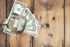 Handcuffs with money royalty free stock photos