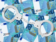 Handcuffs op euro achtergrond twintig Stock Foto