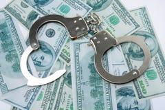 Handcuffs op geld Royalty-vrije Stock Afbeeldingen