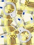 Handcuffs op twee honderd euro achtergrond Stock Fotografie