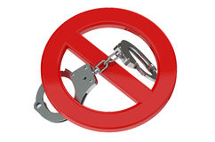 Handcuffs in prohibition sign Royalty Free Stock Photo