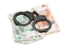 Handcuffs on Russian money Royalty Free Stock Image