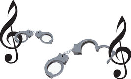 Handcuffs to the musical note Royalty Free Stock Photo