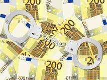 Handcuffs on two hundred euro background. Handcuffs on two hundred euros background. Vector illustration stock illustration