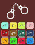 Handcuffs - Vector icon with color variations Royalty Free Stock Image