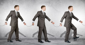 Handcuffs, white collar crime, arrest. People going to each other royalty free stock images
