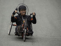 Handcycle. Amputee Joe Robichaud, 65, enjoys riding a handcycle in Dartmouth, Nova Scotia on Saturday, June 10, 2016 Stock Photo