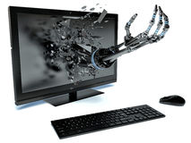 Handdata och PC stock illustrationer