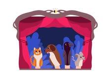 Handdockor eller djur som behandlas av dockspelaren på teateretappen som isoleras på vit bakgrund Underhållande kapacitet royaltyfri illustrationer