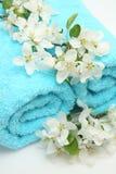 Handdoek en bloemen Stock Foto