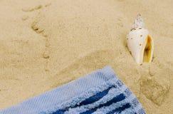 Handdoek en shell Royalty-vrije Stock Afbeeldingen