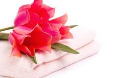 Handdoek en tulpen Stock Afbeelding