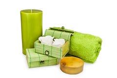 Handdoek, zeep, kaars Stock Foto