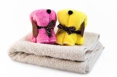Handdoeken in de vorm van honden Royalty-vrije Stock Foto's