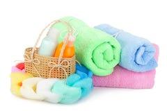 Handdoeken en shampoo Royalty-vrije Stock Fotografie
