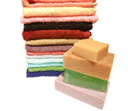 Handdoeken en zeep Stock Afbeelding