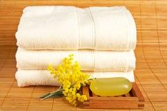 Handdoeken en zeep royalty-vrije stock foto