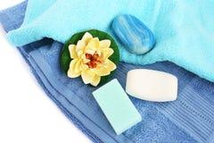 Handdoeken en zepen Stock Foto