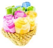 Handdoeken in Rieten Mand I Stock Fotografie