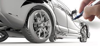 Handdraw en model bil Royaltyfri Bild