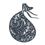 Handdraw scandinavian Christmas giftbag vector icon silhouette with flourish ornament. Simple gift contour symbol royalty free illustration