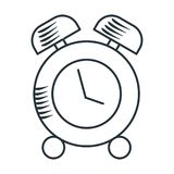 Handdraw icon alarm clock. Handdraw sketch alarm clock icon. Flat vector cartoon illustration. Objects isolated on white background Stock Photography