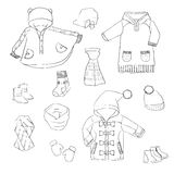 Handdraw winter coats Stock Images