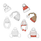 Handdraw winter hats Stock Photography